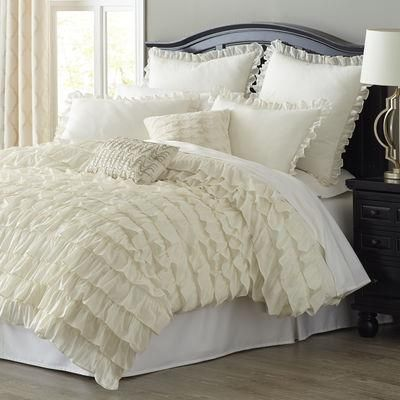 Cream ruffled bedding