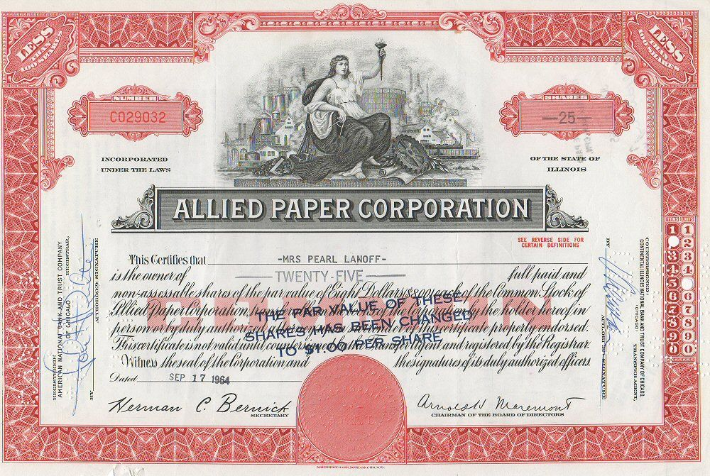 This Daylight Prism Company sample stock certificate (50 shares - stock certificate template