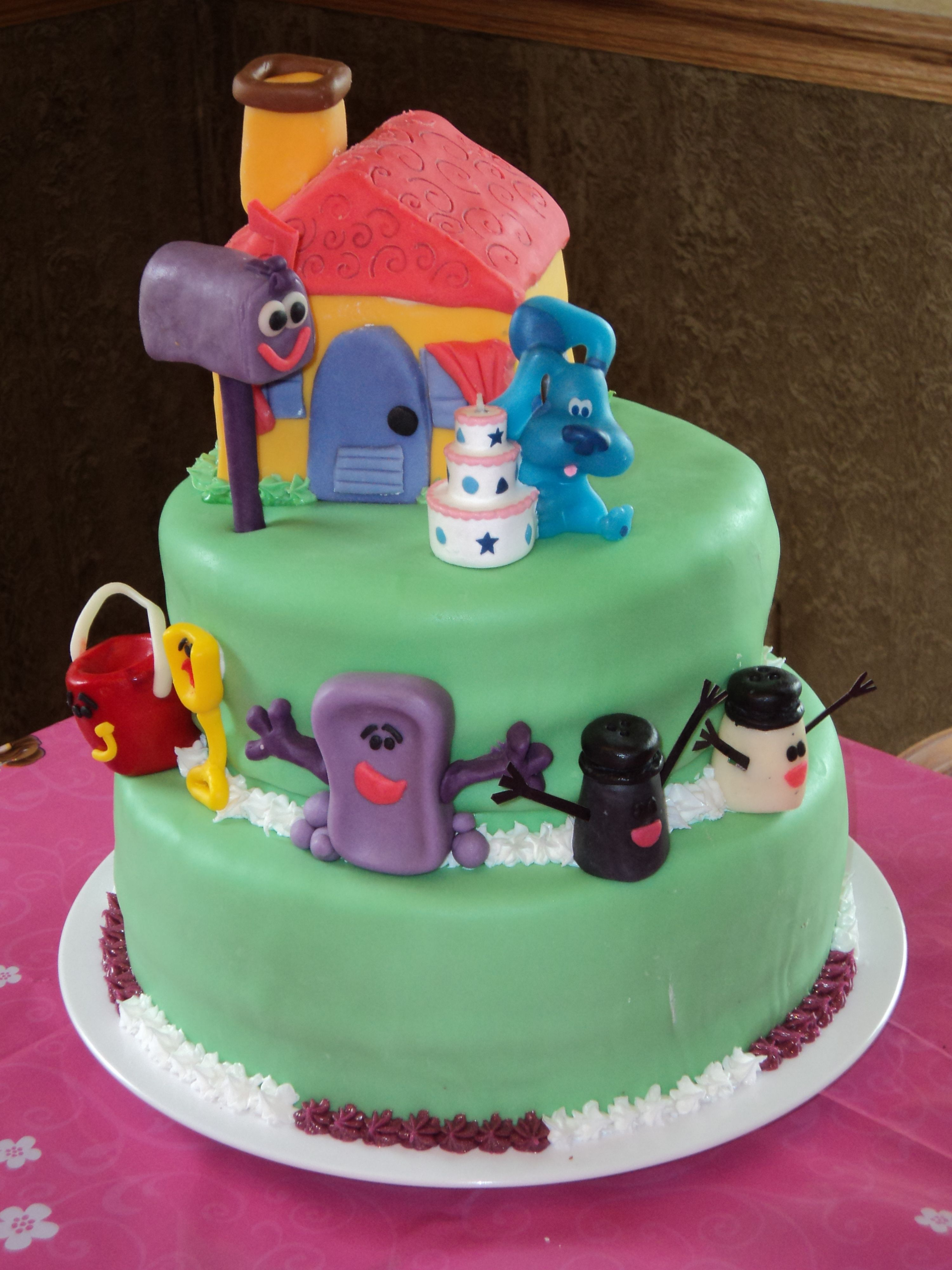 Blues Clue\'s Birthday Cake. Characters made out of homemade ...