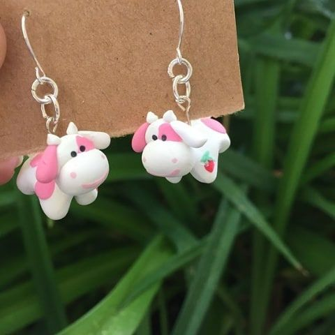 Anya M On Instagram Strawberry Cow Pillow Pet Earrings Up On Etsy Link In Bio These Have Been Selling Ou In 2020 Animal Pillows Animal Earrings Diy Clay Earrings