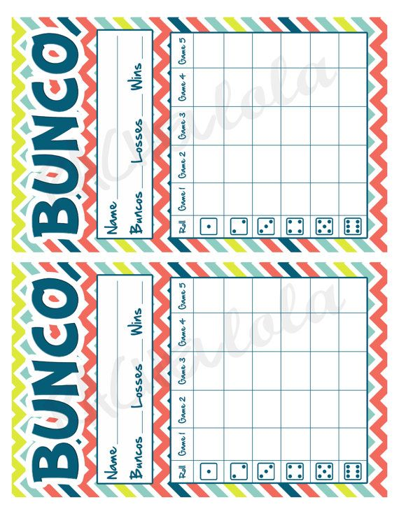 Bunco Score Card, Multicolor Chevron, Instant Download, Buy 2 Get