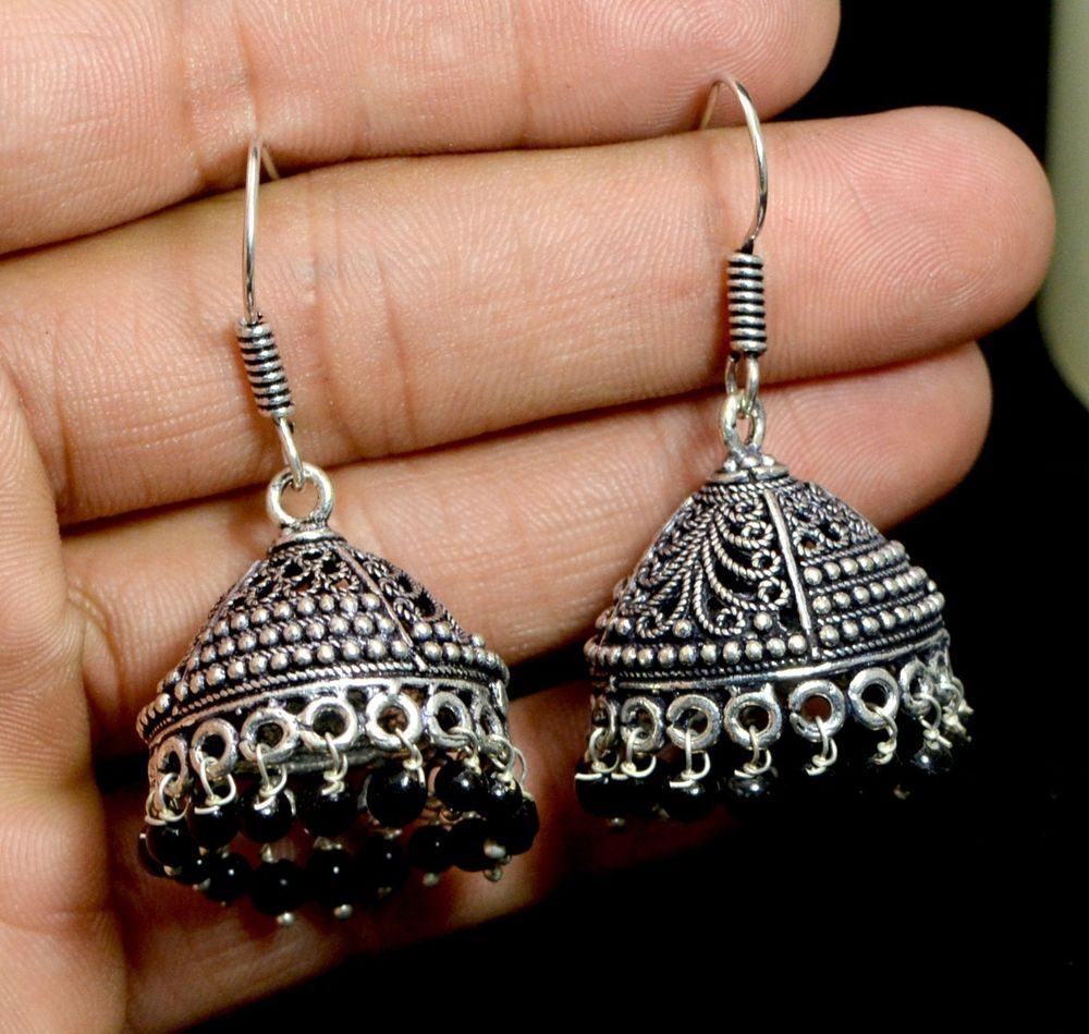 Jhumki Handmade Hook 925 Sterling Silver Plated Designer Earrings Jewelry KEF153 #krsnajewels #DropDangle