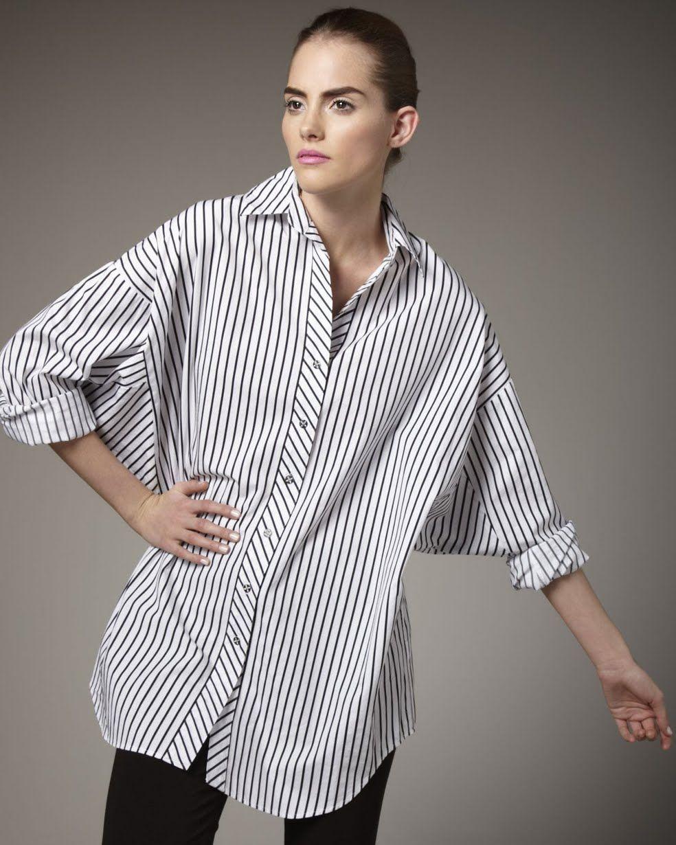 55583682815 Go Silk Striped Big Shirt