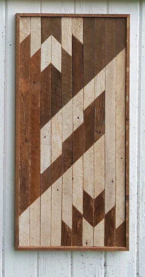 Recuperado arte de listón de madera de la pared, arte abstracto
