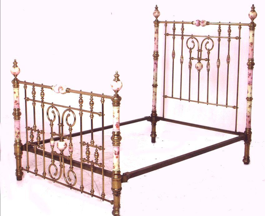 Interesting Brass And Porcelain Bed Frame Brass Bed Wrought Iron Beds Iron Bed