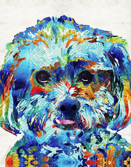 Lhaso Apso Dog Art Colorful Print From Painting Cute Rainbow Dog