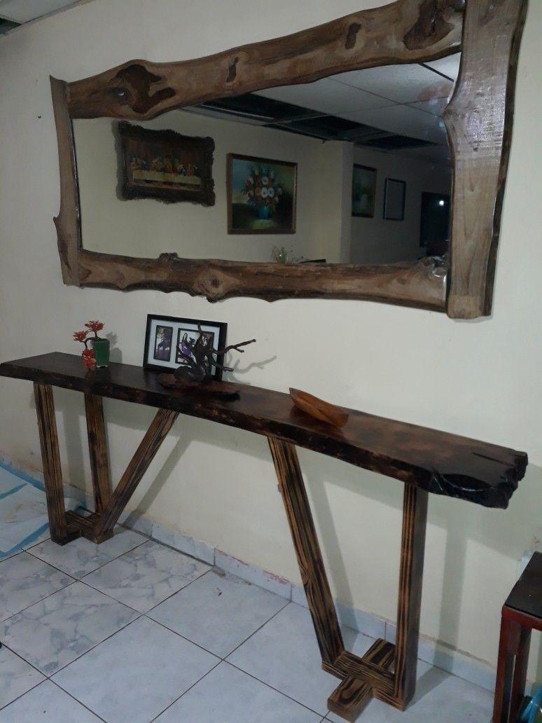 CONSOLA controló de árbol y espejo con marco de teca | pallest leon ...
