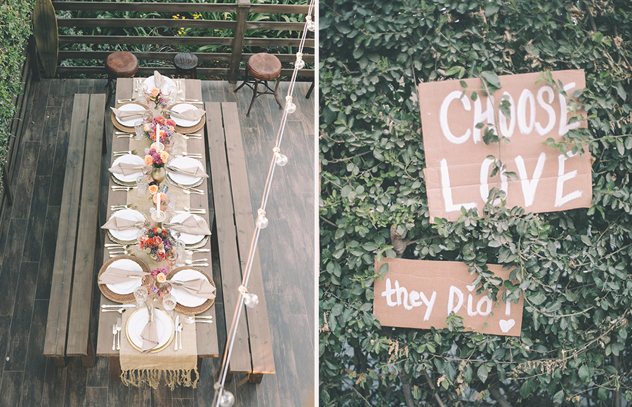 """The Bride commissioned us to help hand paint signage with retro """"free love"""" evoking phrases for the couples """"love parade"""" which we later repurposed as reception decor! Choose Love and"""