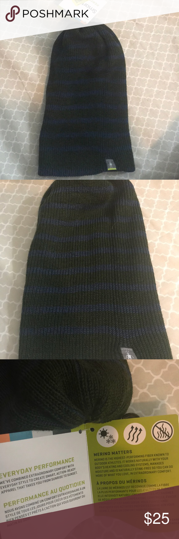 SmartWool Men s Winter Hat One Size New with tag slouch beanie hat from  Smartwool. Green   Blue striped It is made of 50% Acrylic and 50% wool. ac6df2799f1e