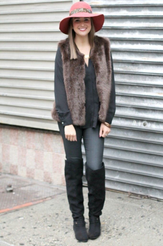 Brown & Black on #LexWhatWear #outfit #styleideas #winterfashion #woolfedora #fauxfurvest #leather #fashion #outfitideas