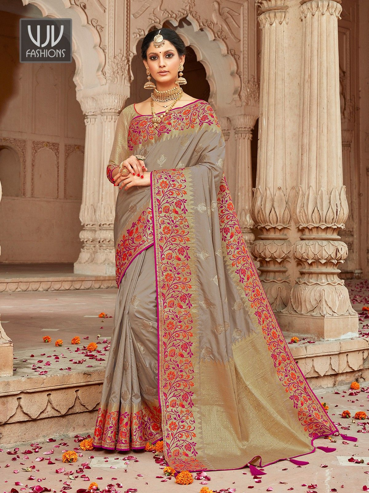 Lovely Grey Color Silk Designer Classic Saree in 2020