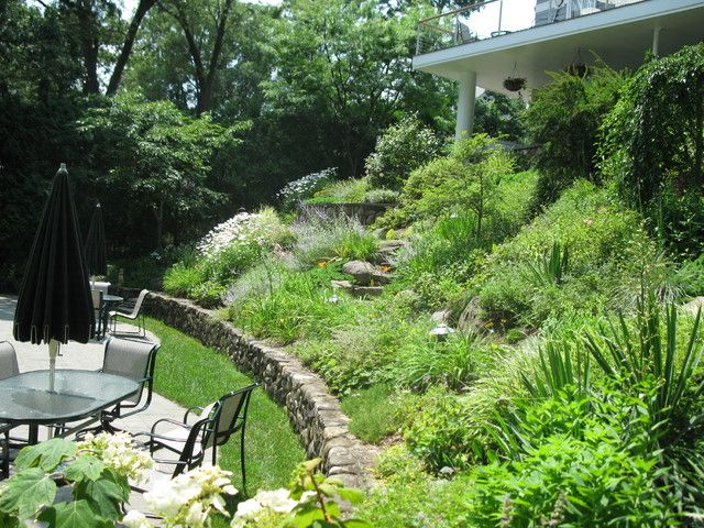 Garden landscaping ideas for downward sloping backyard for Sloping garden design ideas