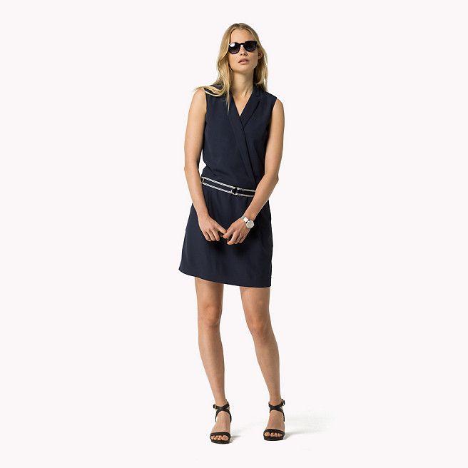 Tommy Hilfiger Sleeveless Crossover Dress - navy blazer (Blue) - Tommy Hilfiger Dresses - main image