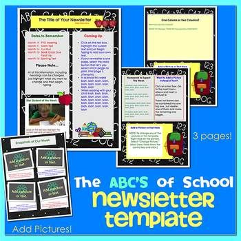 School Supplies Theme  Newsletter Template Word  Newsletter