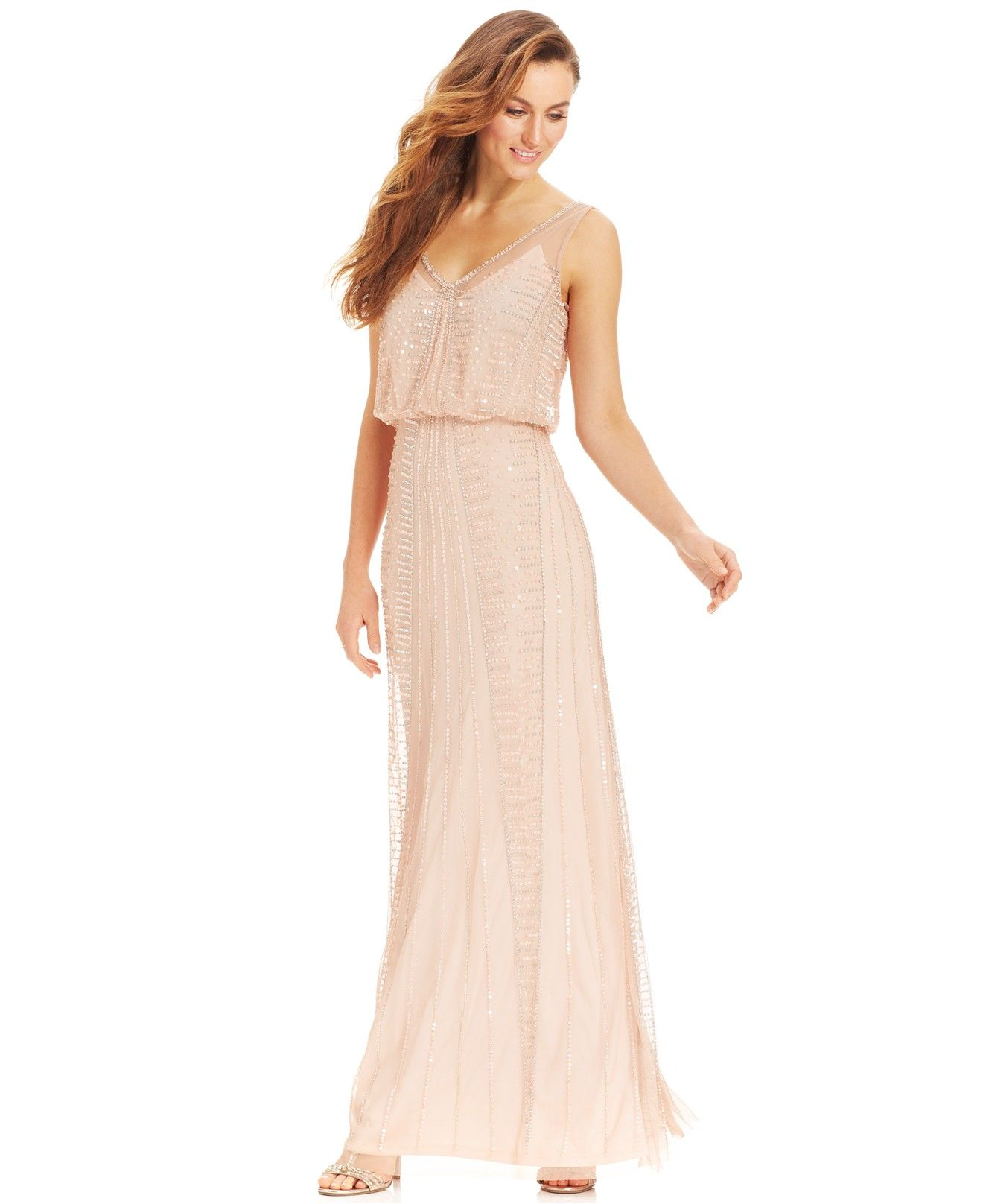 Adrianna papell illusion beaded blouson gown dresses