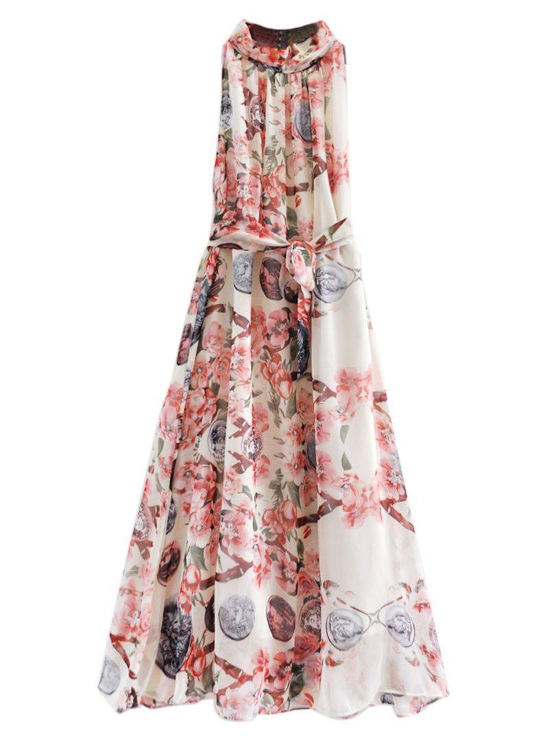 White floral stand collar tied waist maxi beach dress fun