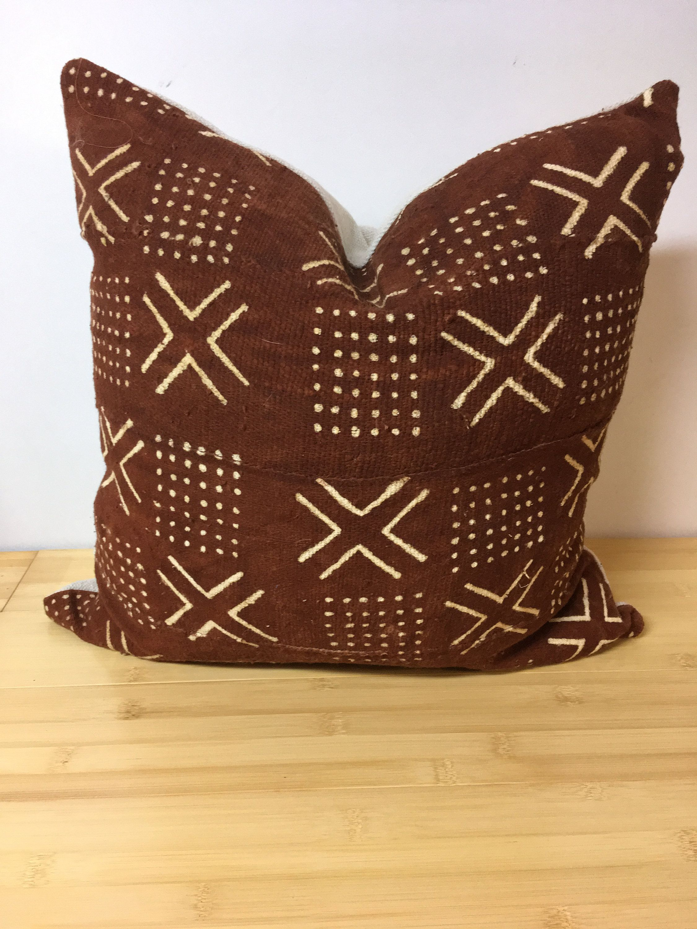 African Mudcloth Pillow Cover Authentic African Mud Cloth Orange And Cream Mali Mud Cloth Decorati In 2020 African Mud Cloth Mudcloth Pillow African Mudcloth Pillow