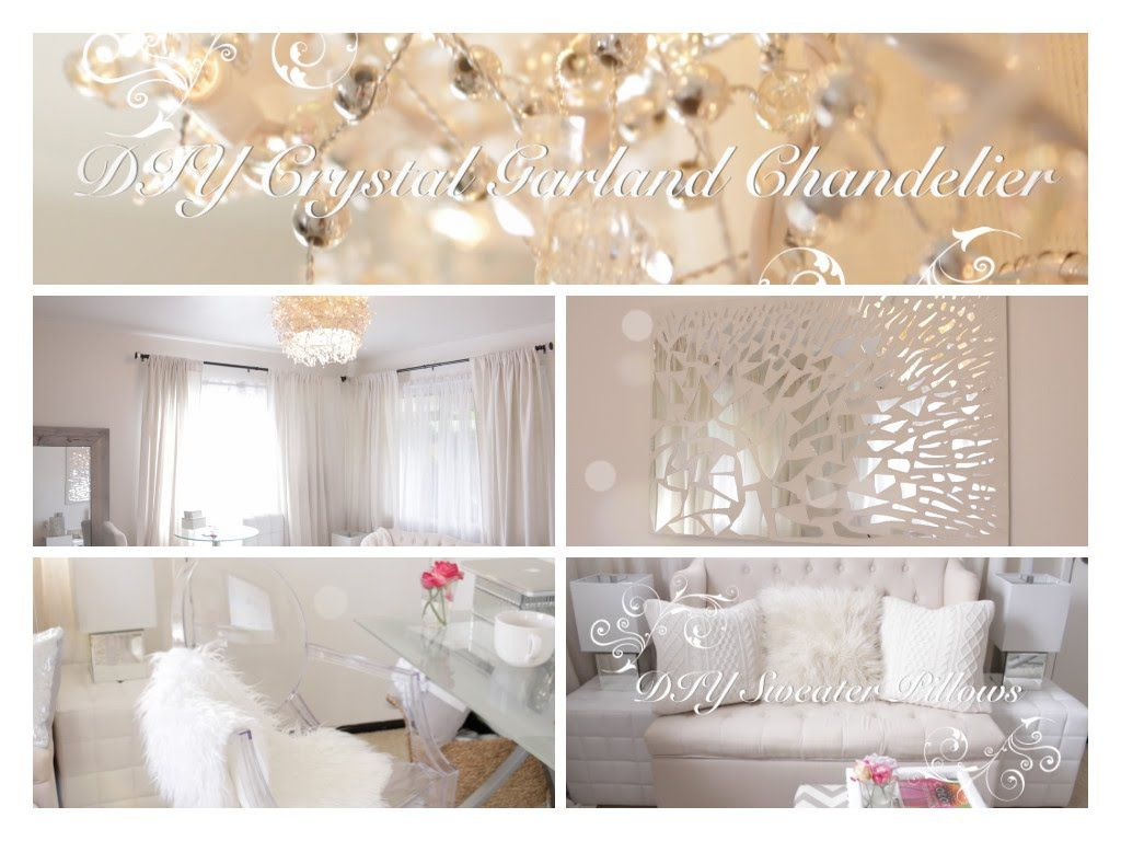 Bedroom Decor Homemade diy room decor ideas (crystal garland chandelier, mirror mosaic