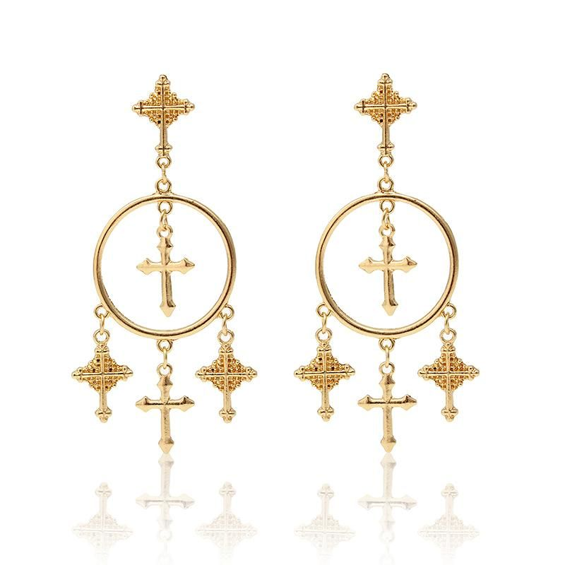 903091715 Trendy Gold Plated Silver Cross Tassel Women Earrings | Tassels