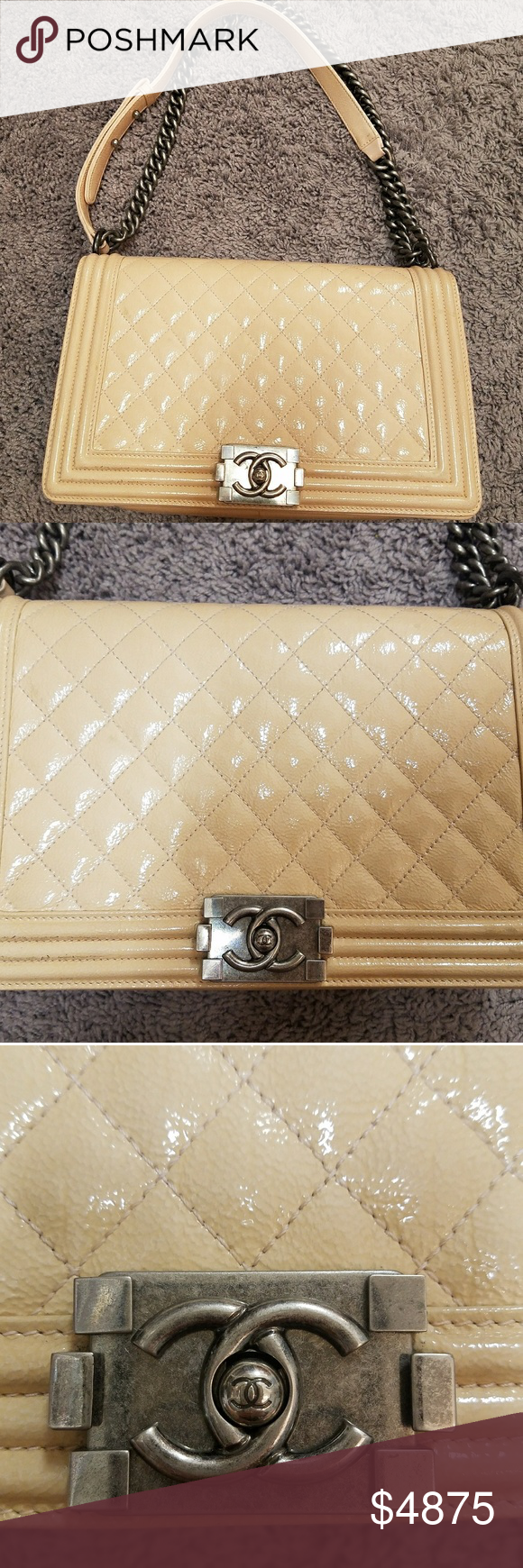 2f3ac5861dfe Chanel Beige Quilted Patent Leather New Med BoyBag This Chanel Light Beige  Quilted Patent Leather Boy bag is the New Medium size of the collection and  ...