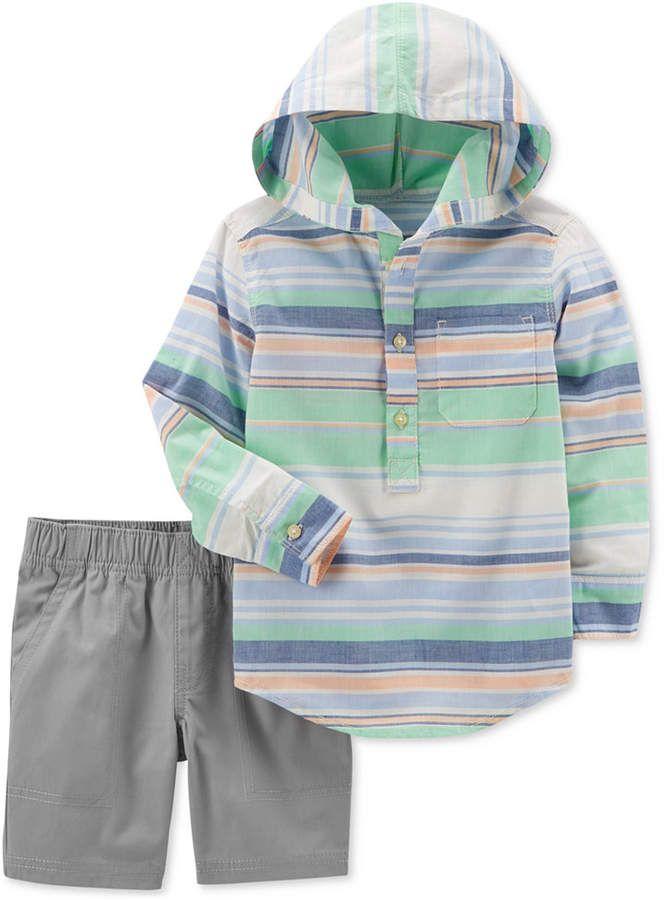 16f89a1e Carter's 2-Pc. Striped Hooded Cotton Shirt & Shorts Set, Baby Boys ...
