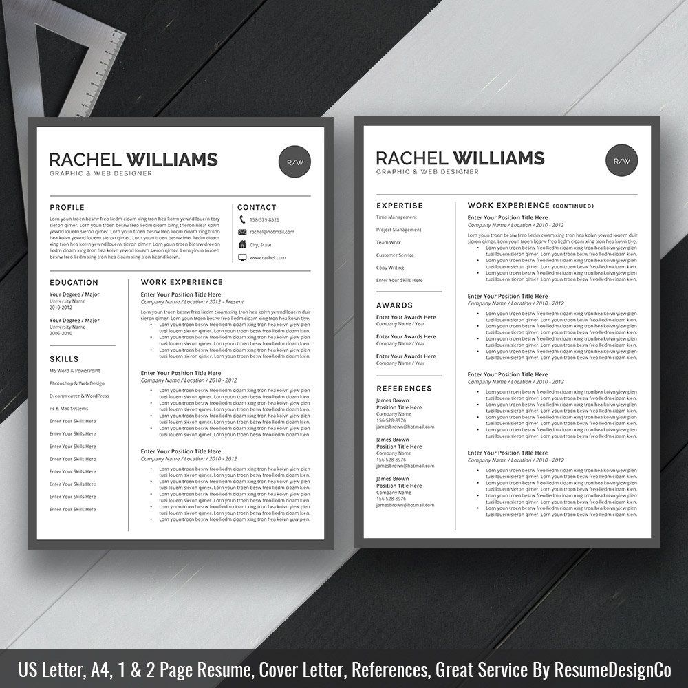 Resume Template Cover Letter Template Word Instant Download