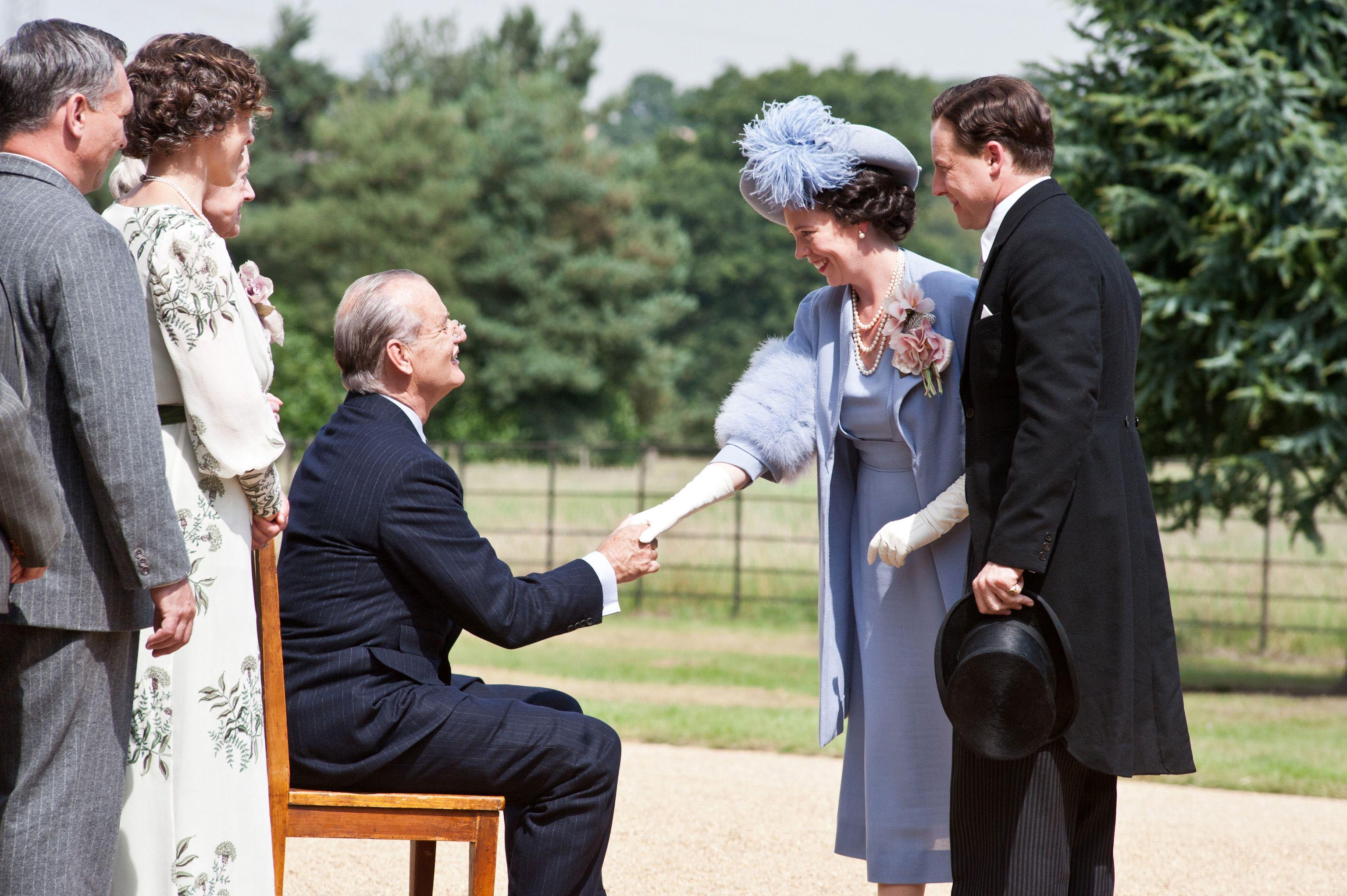 Præsident Franklin Delano Roosevelt (Bill Murray), Elizabeth (Olivia Colman) og Bertie (Samuel West), Copyright SF Film
