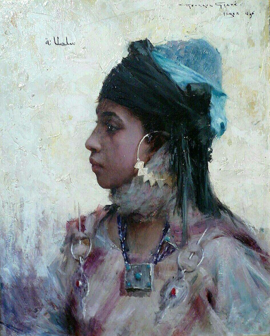 Algérie - Peintre français Georges Gasté (1869-1910), huile sur toile 1897,  Titre   Jeune fille de Bou - Saâda 3396a0d590d