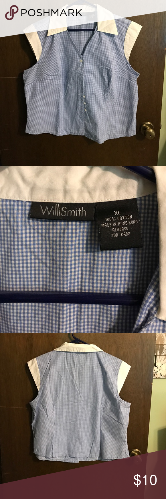 """WilliSmith XL button up shirt. WilliSmith super cute crisp looking blue and white shirt. 21"""" armpit to armpit and 21"""" in length. Cap sleeves and hits just below waist. EUC Willi Smith Tops Button Down Shirts"""