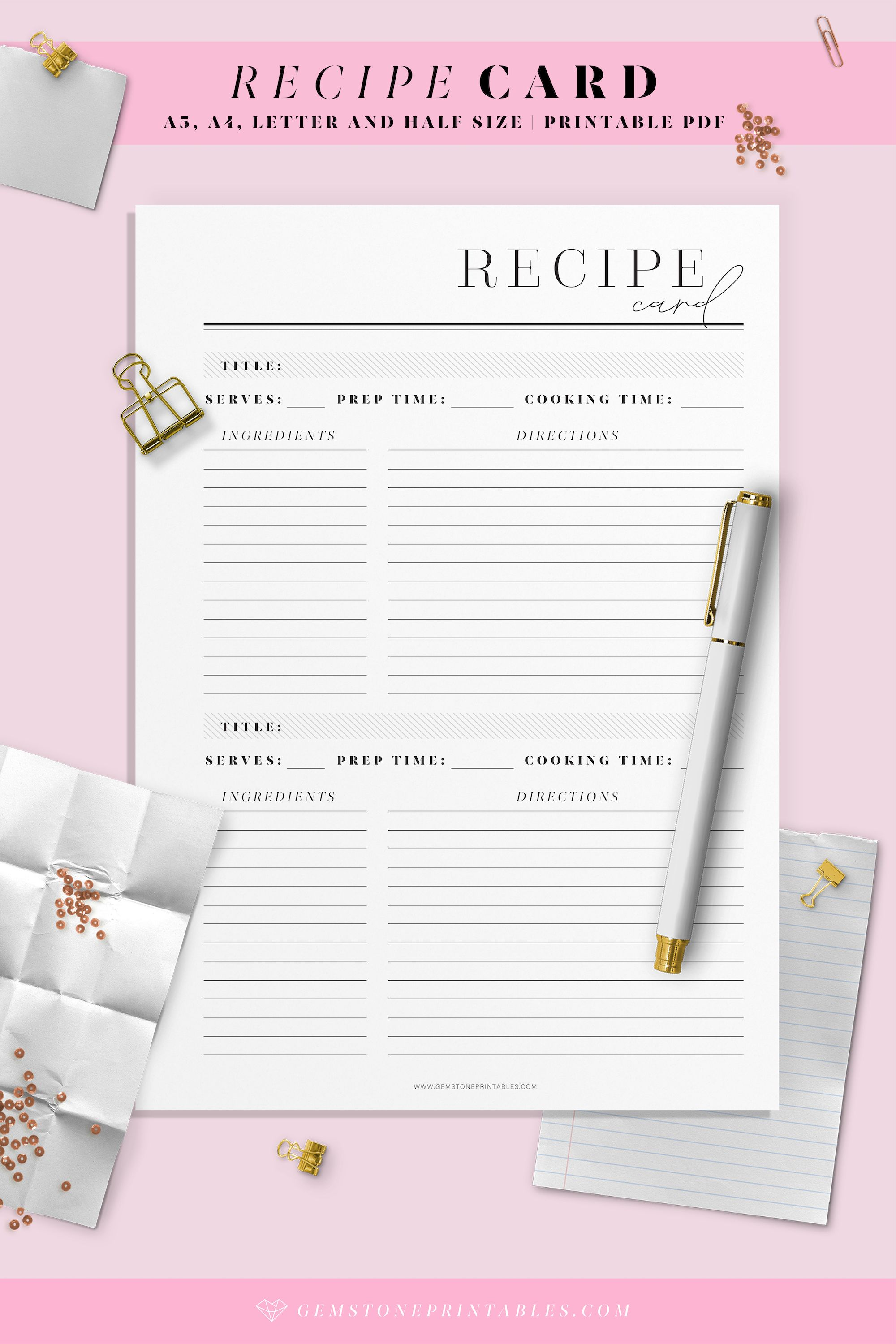 Recipe Card Template Printable Planner A4 A5 Letter And Etsy In 2021 Recipe Cards Printable Templates Agenda Planner Printable Printable Planner Pages