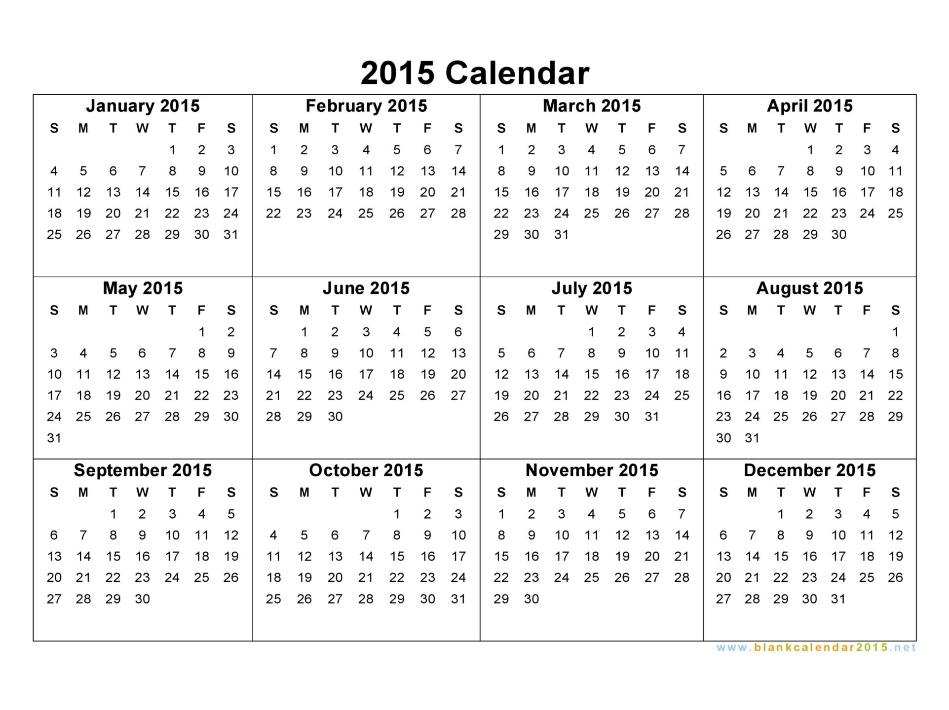 2015 Calendar 2015 Blank Calendar Template Blank Monthly