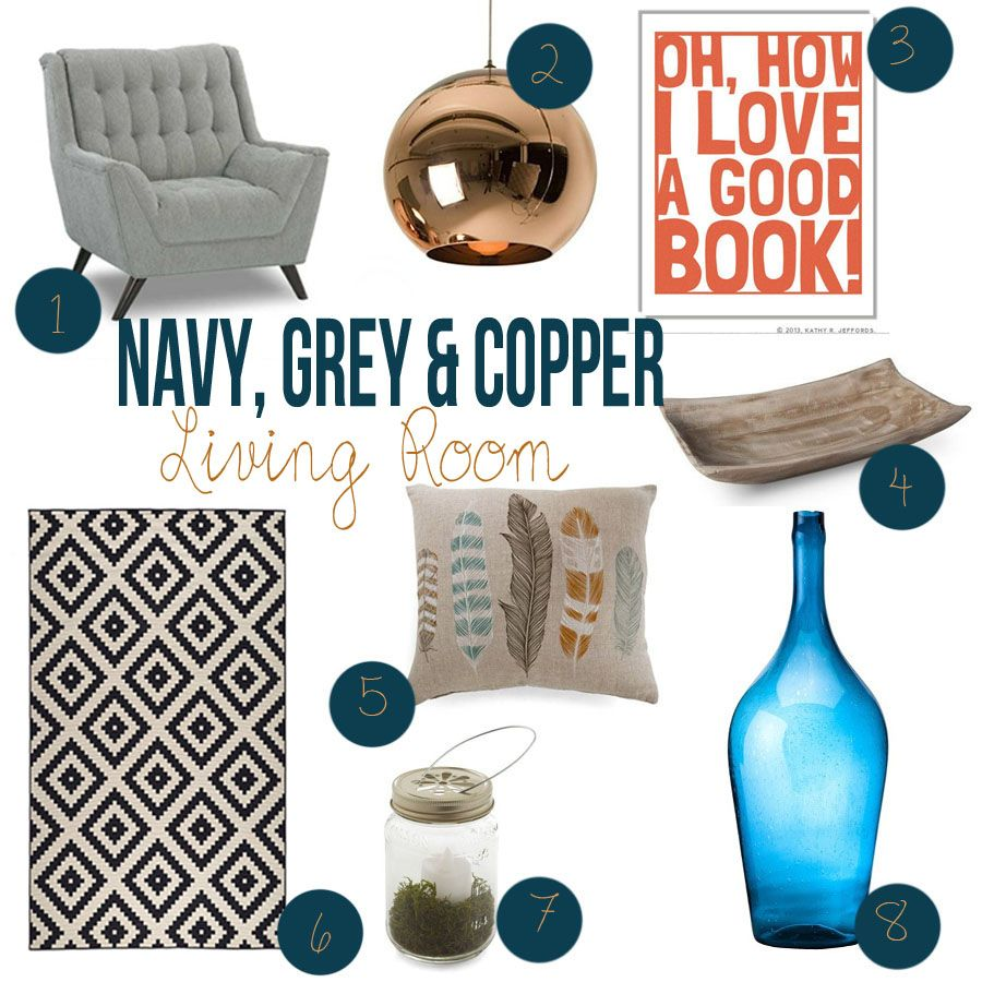 Best Navy Grey And Copper Living Room Ideas Decor Ideas 400 x 300
