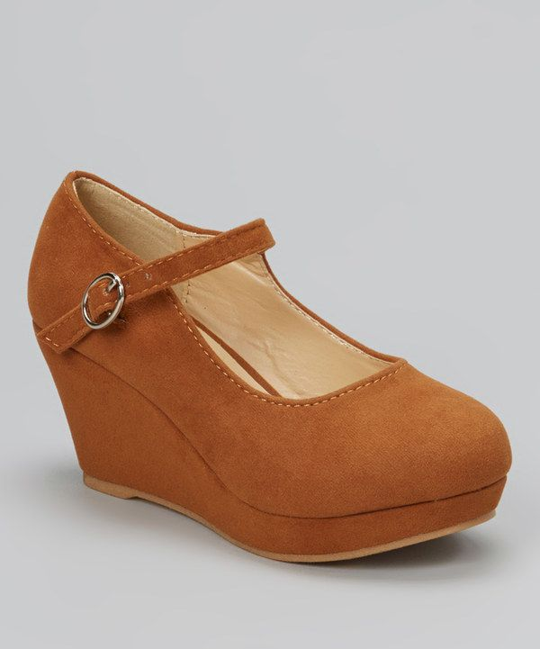Love this QQ Girl Brown Lovely Stitched Wedge Mary Jane by QQ Girl on #zulily! #zulilyfinds
