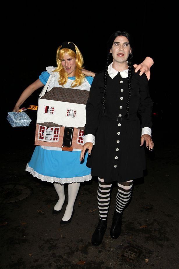 jimmy carr in a wednesday addams from the addams family costume and karoline copping as alice - Jimmy Page Halloween Costume