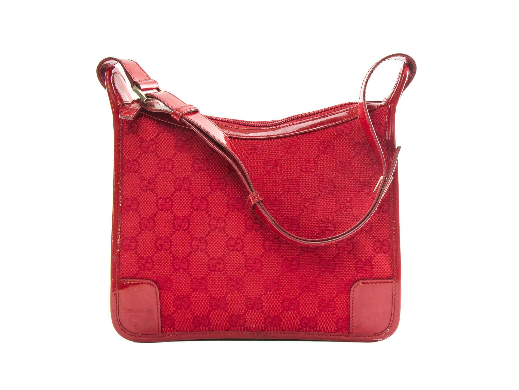 Authentic Gucci Red Shoulder Bag Signature Gg Monogram