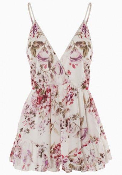 White Floral Sleeveless Jumpsuit Shorts