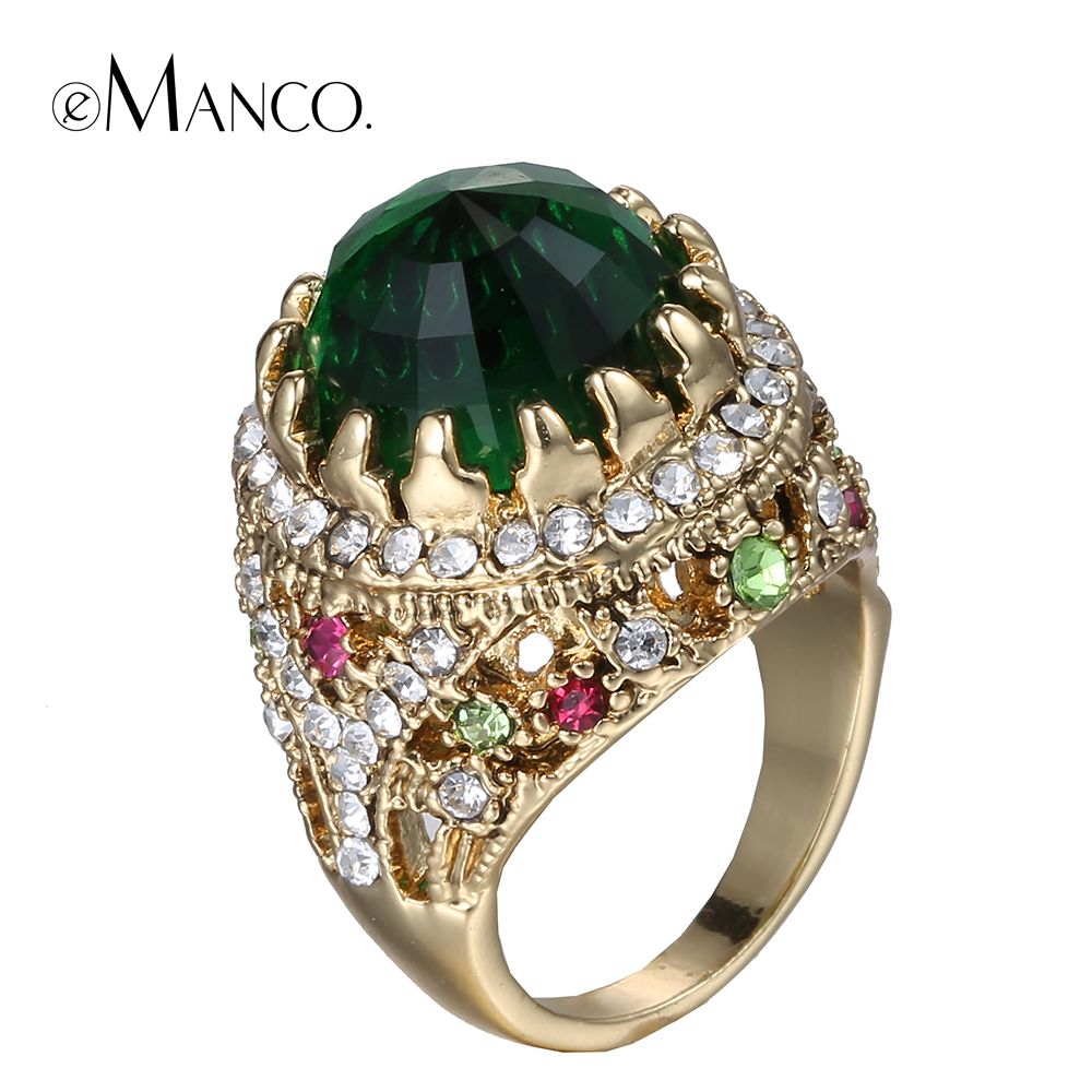 Green crystal rings for women metal crystal rhinestone gold ring ...