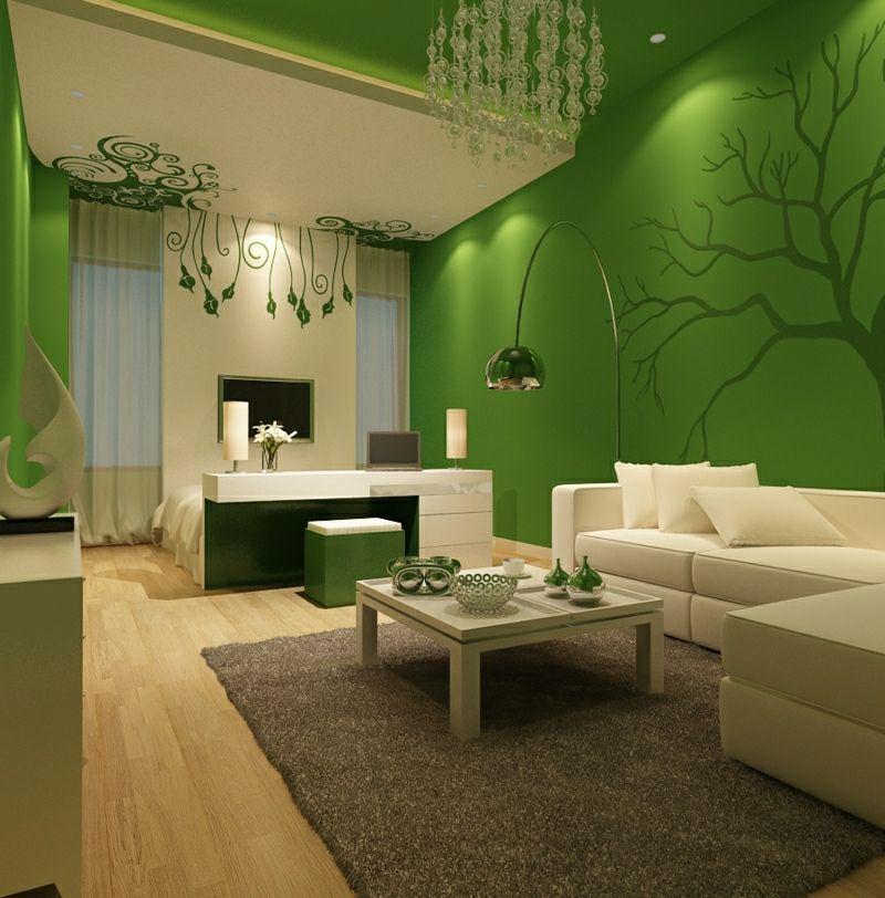 40 moderne Wandfarben Ideen für das Wohnzimmer - Wohnzimmer Design Grun