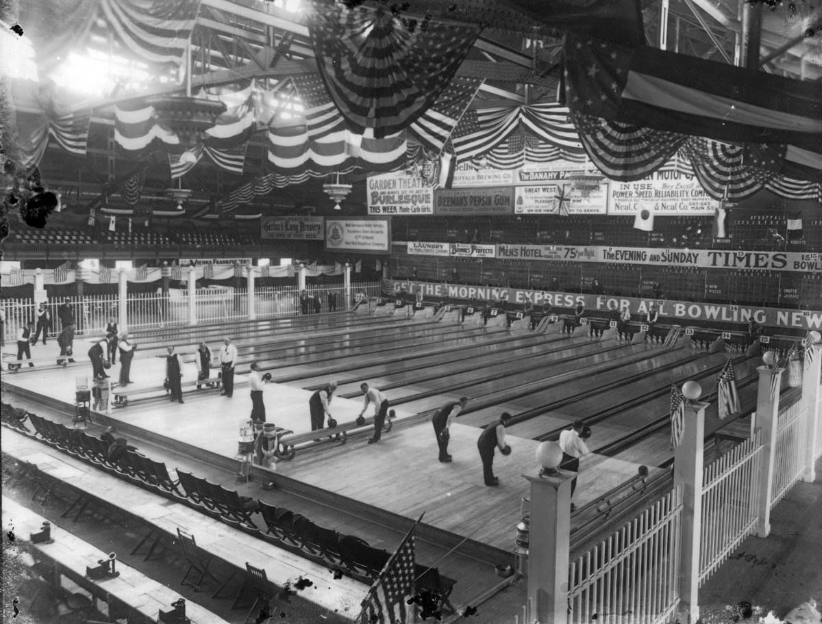 Bowling within the confines of the auditorium in buffalo
