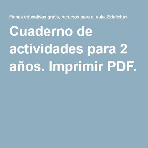 Cuaderno de actividades para 2 años. Imprimir PDF. | Baby activity ...