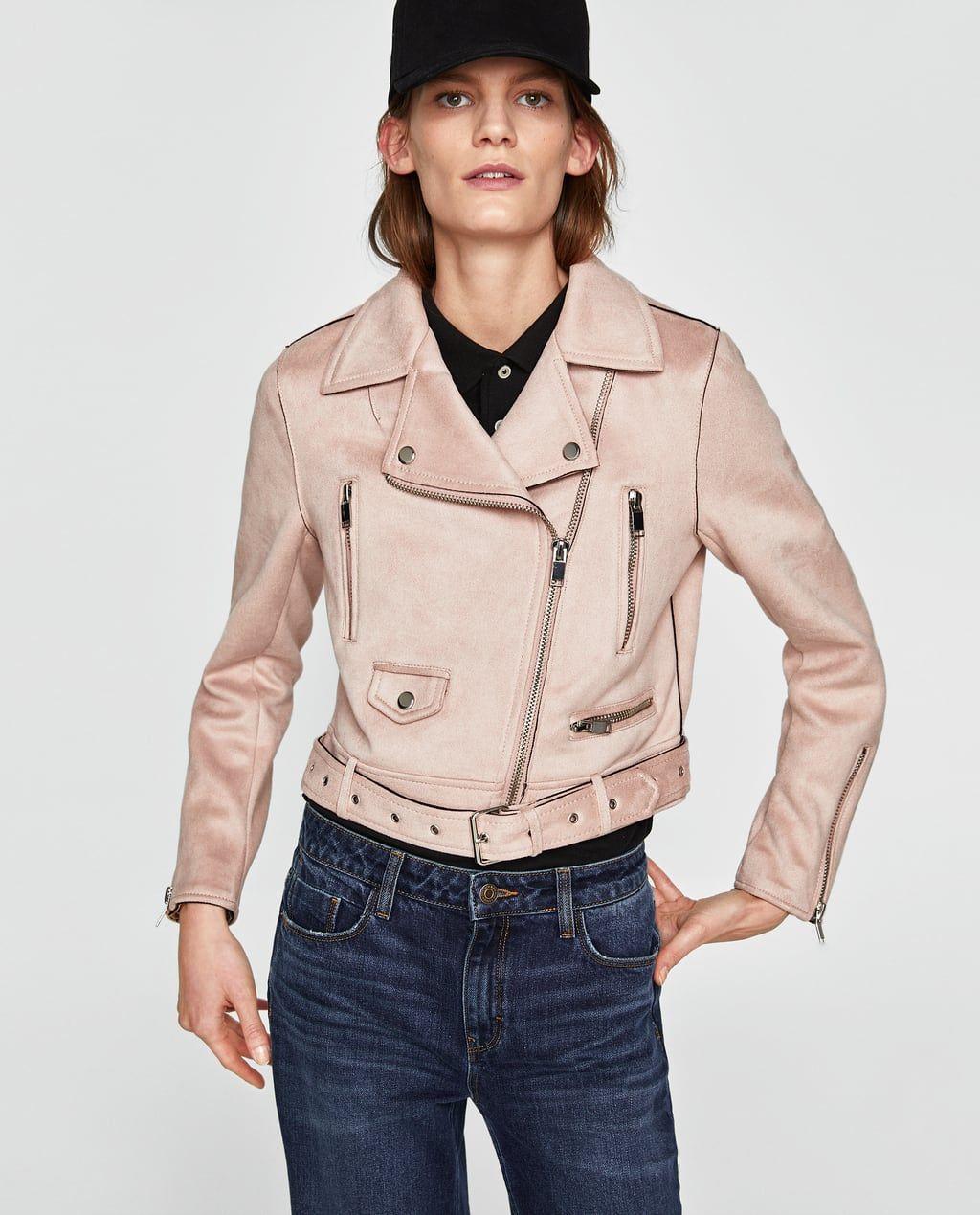 Image 2 of FAUX SUEDE BIKER JACKET from Zara Faux suede