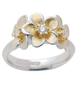 "18ct White & Yellow Gold Diamond Dress Ring   ""Frangipani"" design features 3x 6-claw set round brilliant cut diamonds.   Suits diamonds from 0.10ct upward. Can also be made in platinum, white or yellow gold in one colour."