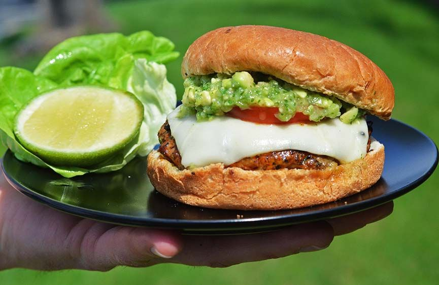 Andrew Zimmern - Mexican Pork Burgers with Tomatillo-Avocado Salsa