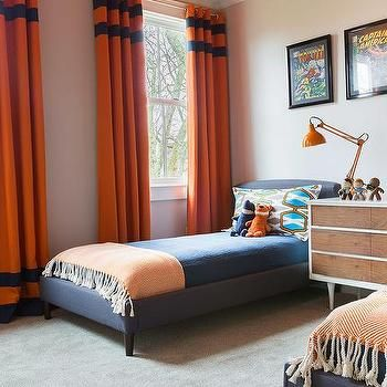 Alyssa Rosenheck Blue And Orange Boys Bedroom With Orange Curtains With Blue Stripes Boys Room Blue Boys Bedroom Orange Boys Bedroom Curtains
