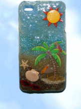 iphone 4 beach delight.  One-of-a kind handcrafted cell case.