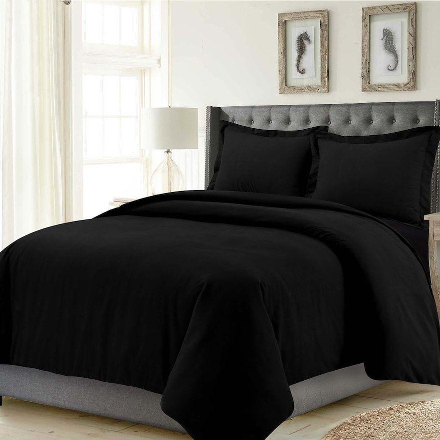Madrid Solid Oversized Duvet Cover Set Black And Grey Bedding Black Bed Sheets Black Bed Set