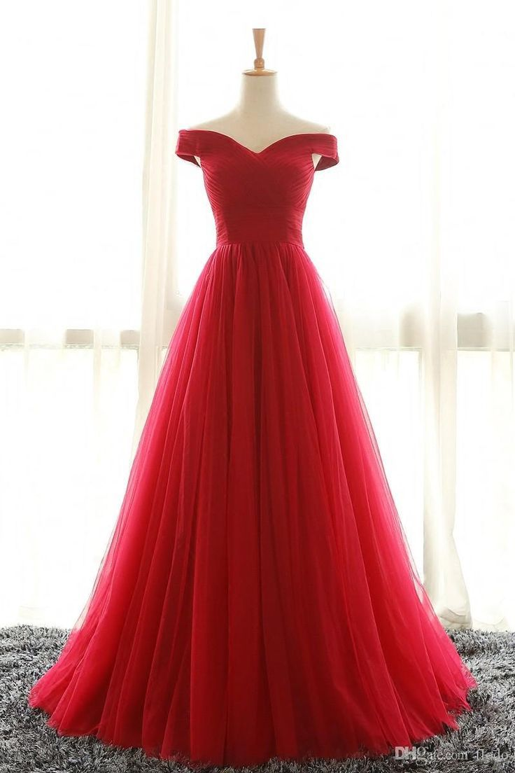 ad_1] Cheap Off The Shoulder Red Tulle Prom Party Dresses 2017 Sweep ...