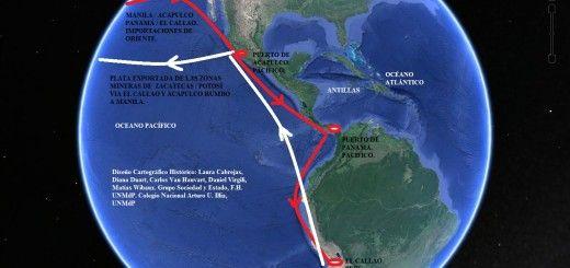Mapa de las rutas comerciales en el Océano Pacífico entre las ...