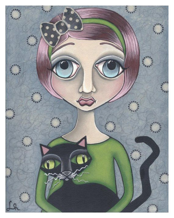 Big Eye Emo Girl with Black Cat... by Lori Ramotar
