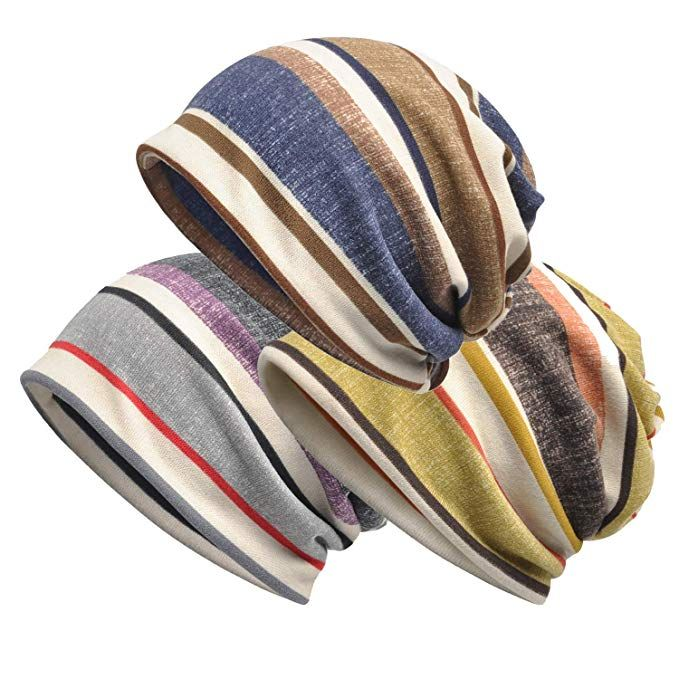 fa8b9c9a3e3 Zando Unisex Soft Beanie Cap Striped Slouchy Chemo Hat Turban Cozy Skull  Cap Lightweight Stretch Sleep Hat for Men Women Review